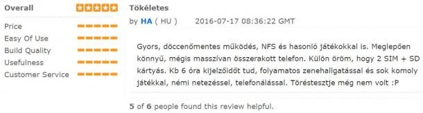 Egy magyar véleményt is találtunk a TinyDeal weboldalán a telefonról.