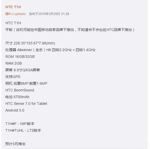 HTC T1H specs