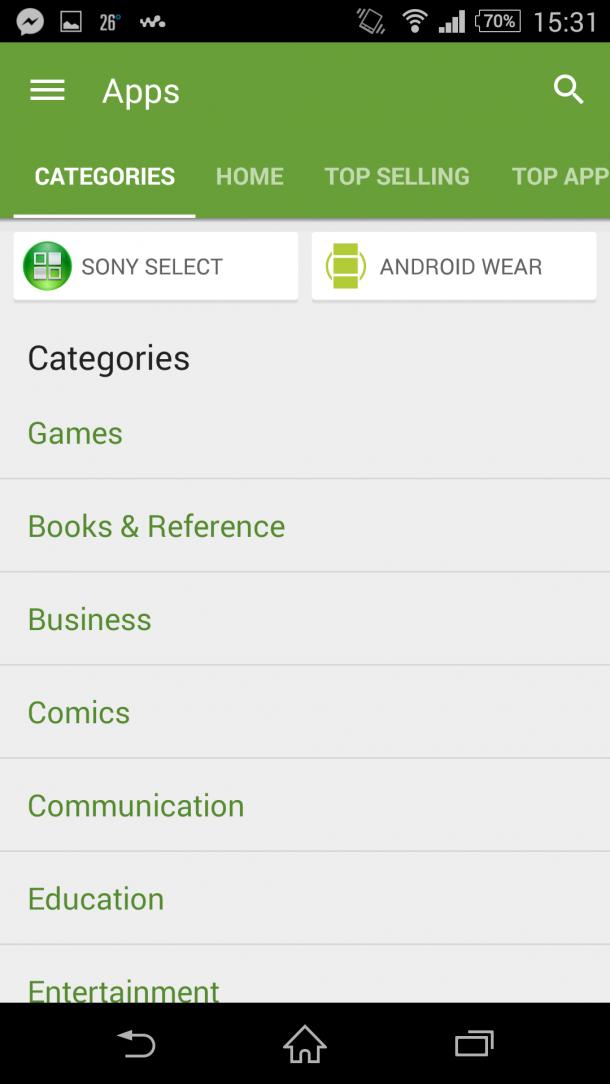 Sony Select és Android Wear beágyazás