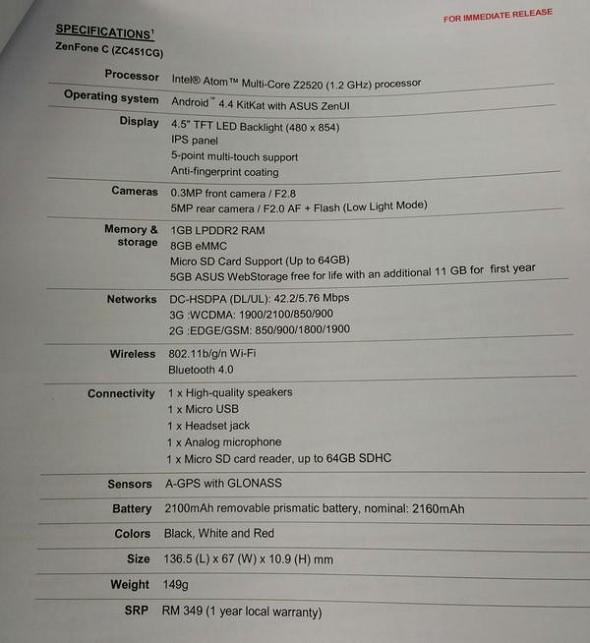 Asus ZenFone C Specifikacio