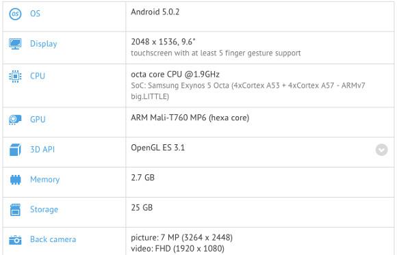 Samsung Galaxy Tab S 2 9.7 geekbench
